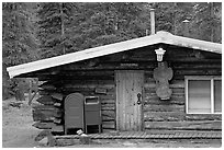 Log house post office, Slana. Alaska, USA ( black and white)