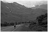 Road cycling, Glenn Highway. Alaska, USA (black and white)