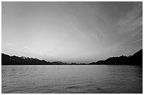 Resurrection Bay, sunset. Seward, Alaska, USA (black and white)
