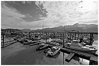 Small boat harbor, morning. Seward, Alaska, USA ( black and white)
