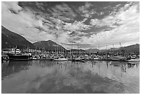 Harbor and reflections. Seward, Alaska, USA (black and white)