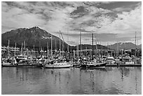 Yachts in harbor. Seward, Alaska, USA ( black and white)