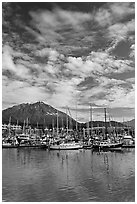 Harbor, mountains and cloud reflections. Seward, Alaska, USA (black and white)