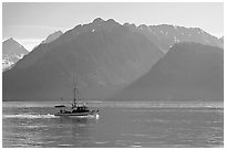 Fishing boat in Resurection Bay. Seward, Alaska, USA ( black and white)