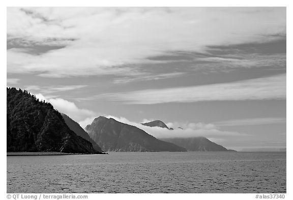 Mountains with low clouds outside Resurrection Bay. Seward, Alaska, USA (black and white)