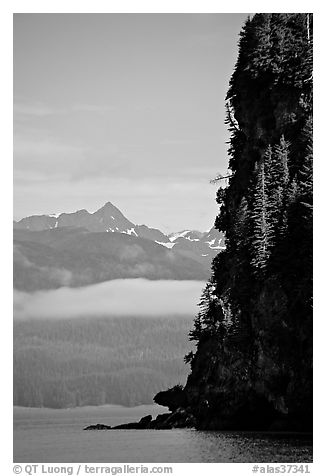 Cliff on island in Resurrection Bay. Seward, Alaska, USA (black and white)