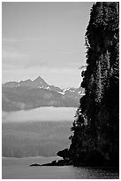 Cliff on island in Resurrection Bay. Seward, Alaska, USA ( black and white)