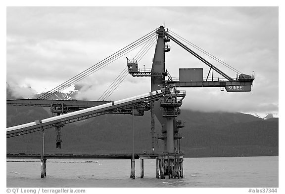 Coal unloading installation. Seward, Alaska, USA (black and white)