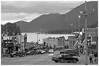 Main street and Resurrection Bay, evening. Seward, Alaska, USA (black and white)