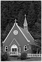 Red church. Seward, Alaska, USA (black and white)