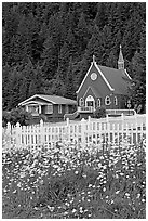 White flowers,  picket fence, red church, and forest. Seward, Alaska, USA (black and white)