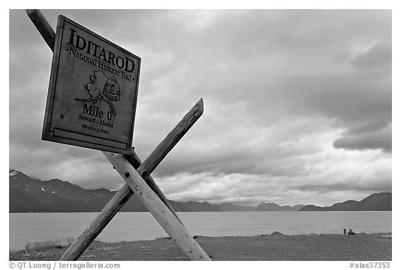 Historic Itadarod sign and Resurrection Bay. Seward, Alaska, USA (black and white)