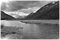 Tern Lake, mid-morning summer. Alaska, USA (black and white)