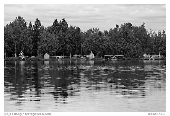 Floatplanes and reflections.. Anchorage, Alaska, USA (black and white)