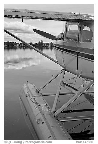 Seaplane moored on Lake Hood. Anchorage, Alaska, USA (black and white)