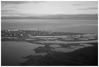 Aerial view of Kotzebue. Kotzebue, North Western Alaska, USA ( black and white)