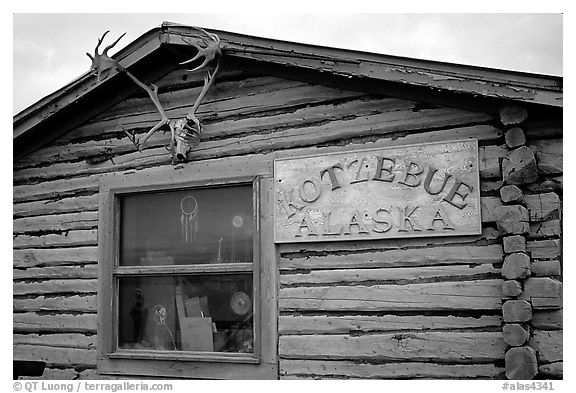 Log cabin with caribou antlers. Kotzebue, North Western Alaska, USA (black and white)