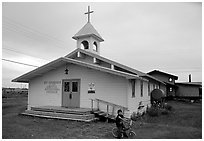 Church Saint George in the Arctic. Kotzebue, North Western Alaska, USA (black and white)
