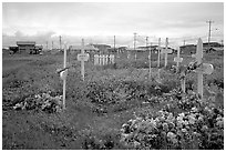 Cemetery. Kotzebue, North Western Alaska, USA ( black and white)