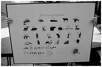 Poster describing the Inupiaq alphabet, Kiana. North Western Alaska, USA (black and white)