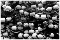 Buoys and fishing nets. Seward, Alaska, USA (black and white)