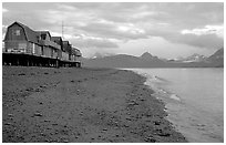 Houses on the Spit. Homer, Alaska, USA ( black and white)