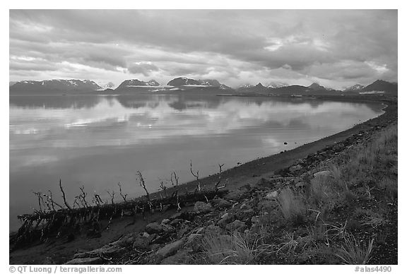 Katchemak Bay from the Spit, dusk. Homer, Alaska, USA (black and white)