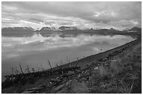 Katchemak Bay from the Spit, dusk. Homer, Alaska, USA ( black and white)