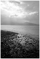 Katchemak Bay from the Spit, Kenai Mountains in the backgound. Homer, Alaska, USA ( black and white)