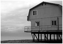 Watefront house on stilts on the Spit. Homer, Alaska, USA ( black and white)