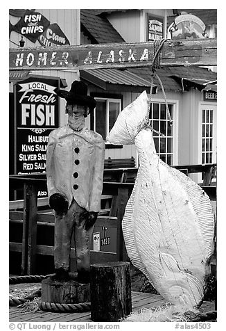 Halibut fishing sculpture on the Spit. Homer, Alaska, USA (black and white)