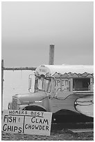 Seafood bus. Homer, Alaska, USA ( black and white)