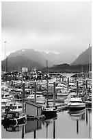 Small Boat Harbor on the Spit with Kenai Mountains in the backgound. Homer, Alaska, USA ( black and white)