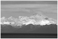 Mt Iliamna, a volcano in Lake Clark National Park, seen across the Cook Inlet. Ninilchik, Alaska, USA (black and white)