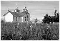 Old orthodox Russian church. Ninilchik, Alaska, USA ( black and white)
