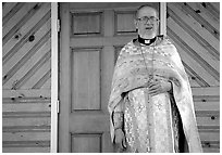 Orthodox priest. Ninilchik, Alaska, USA ( black and white)
