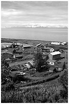 Old village. Ninilchik, Alaska, USA ( black and white)