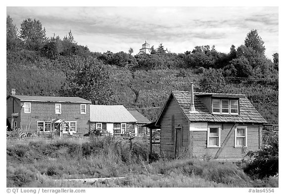 Old wooden houses in  village. Ninilchik, Alaska, USA (black and white)