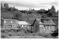 Old wooden houses in  village. Ninilchik, Alaska, USA ( black and white)