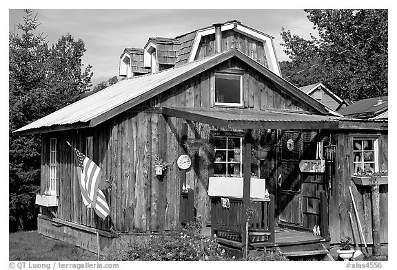 Wooden cabin in old  village. Ninilchik, Alaska, USA (black and white)