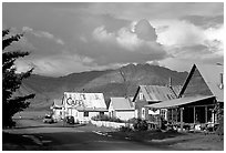 Village main street and Turnaigan Arm. Hope,  Alaska, USA (black and white)