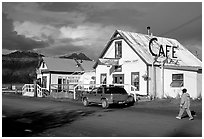 The tiny village's main street. Hope,  Alaska, USA (black and white)