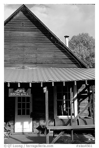 Community hall. Hope,  Alaska, USA (black and white)