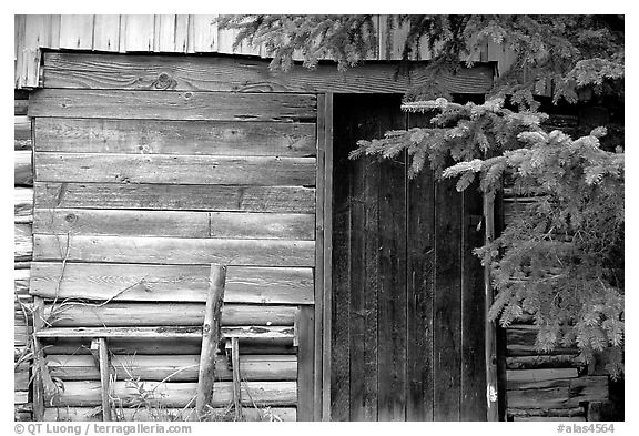 Cabin detail. Hope,  Alaska, USA (black and white)