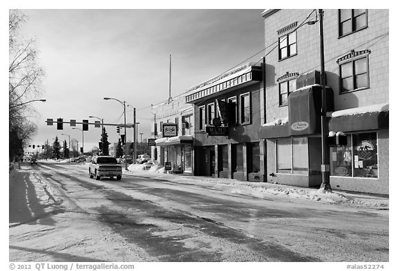 Downtown street in winter. Fairbanks, Alaska, USA (black and white)