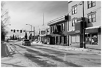 Downtown street in winter. Fairbanks, Alaska, USA ( black and white)