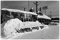 Chatanika Lodge in winter. Alaska, USA ( black and white)