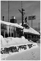 Country lodge in winter. Alaska, USA ( black and white)
