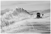 Snowplows and spindrift, Twelve Mile Summmit. Alaska, USA ( black and white)