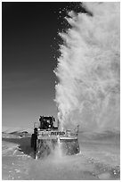 Snowplow with massive snow plume, Twelve Mile Summmit. Alaska, USA ( black and white)